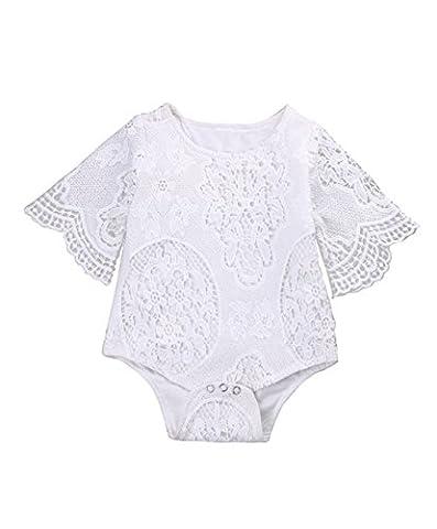 Chicolife Coton Doux Dentelle Floral Summer Bodysuit Romper Jumpsuit Sunsuit Outfits pour enfant en bas âge Bébé Bébé