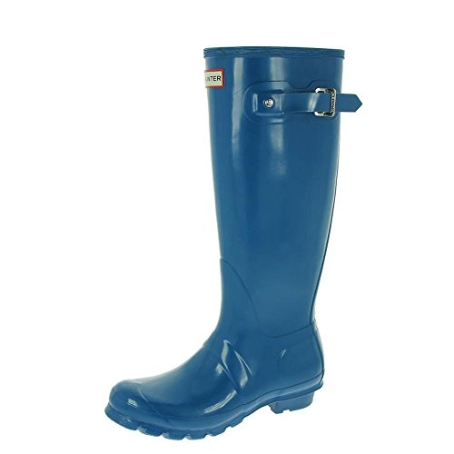 Hunter Original Tall Gloss w23616, Damen Stiefel Ozeanblau