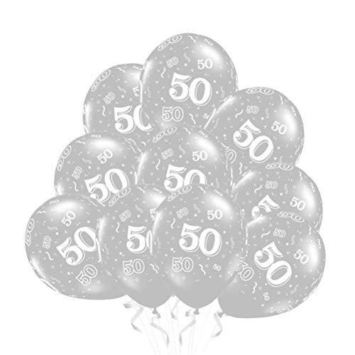 Amosfun 50 Stück 50 Latex Luftballons 50. Geburtstag Luftballons zur Dekoration Geburtstag Jubiläum (Silber, Nummer 50)