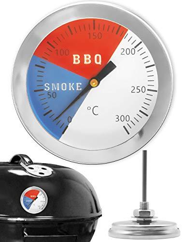HomeTools.eu® - Temperatur-Beständiges, analoges BBQ Grill-Thermometer Koch-Thermometer, zum Nachrüsten für BBQ Smoker - Grill Analog Thermometer