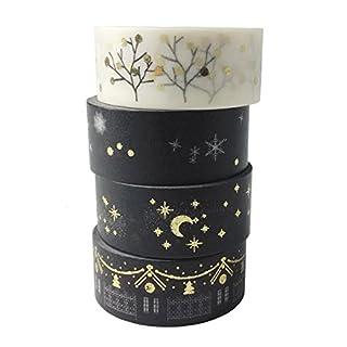 AUFODARA Washi Tape Dekobänder Goldenen Akzenten Designs 4er Set (Golden)