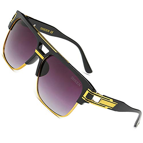 SHEEN KELLY 80's Große Retro Sonnenbrille Square Piloten Brille Herren Damen Spiegel Linsen Luxus Eyewear Schwarz Metall Gold UV400 Oversized