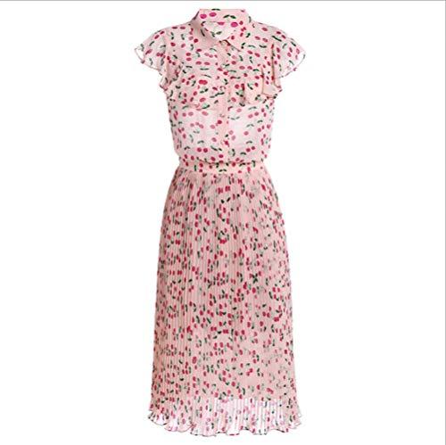 Sommer Stehkragen Frauen Elegante gekräuselte Kirsche ärmelloses Print-Top + Falten A-Linie Rock Zweiteilige rosa M-Code - Gekräuselte Lace Top