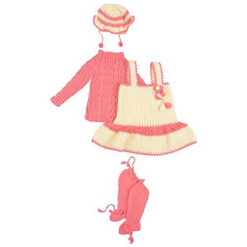 Kuchipoo Hand Knitted Crochet Woolen Baby Girl Frock (KUC-FRK-201, Carrot Color & Cream, 1 to 2 Years)