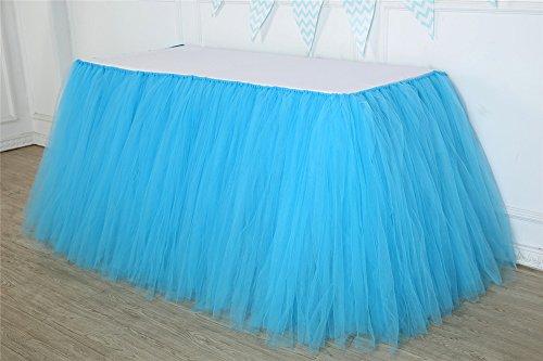 Tutu-Tisch-Rock-Tulle-Tabellen-Abdeckung für Baby-Mädchen-Prinzessin-Geburtstags-Party-Hochzeits-Weihnachtsdekorationen Blau - 2