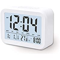 Arespark Despertador Digital Electrónico, Reloj Despertador con Alarma Luz de Noche, Pantalla LCD con Fecha Temperatura, Sensor de Luz, Función Snooze. Blanco