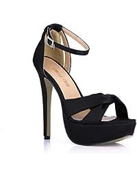Amazon esSandalias Y ZapatosZapatos Hebilla Tacon Negras De 8ONwvmn0