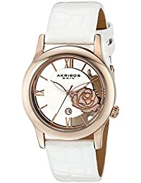 Akribos XXIV Reloj de Pantalla analógica cuarzo japonés Blanco para Mujer