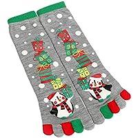 BESTOYARD 1 Paar Weihnachten Zehensocken Weihnachten fünf Finger Lange Socken Ballon Druck Socken - freie Größe (grau)