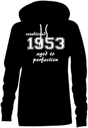 Established 1953 aged to perfection ★ Hoodie Kapuzen-Pullover Frauen-Damen ★ hochwertig bedruckt mit lustigem Spruch ★ Die perfekte Geschenk-Idee (01) schwarz
