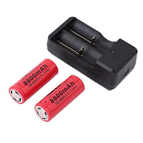 Logicstring 2 stücke 26650 3,7 V 8800 mAh Lithium-Ionen-akkus mit Ladegerät Rot Lithium-Batterie mit Ladegerät Universal Großhandel