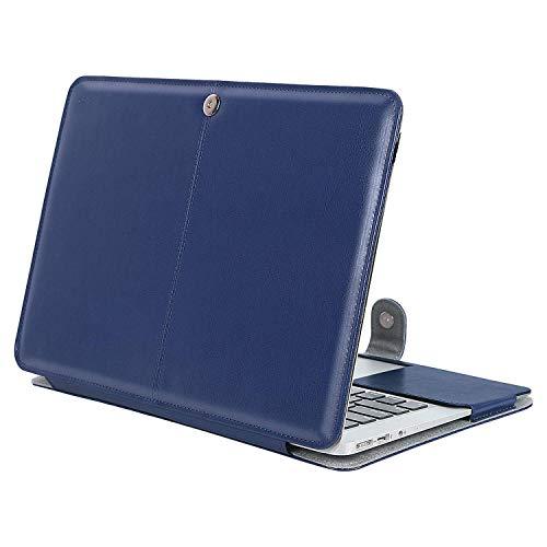 MOSISO Hülle Kompatibel MacBook Air 13 Zoll, Premium Qualität PU Leder Schlanke Schutzhülle Tasche Cover Kompatibel MacBook Air 13 Zoll (A1369 / A1466), Navy Blau 13 Premium-leder