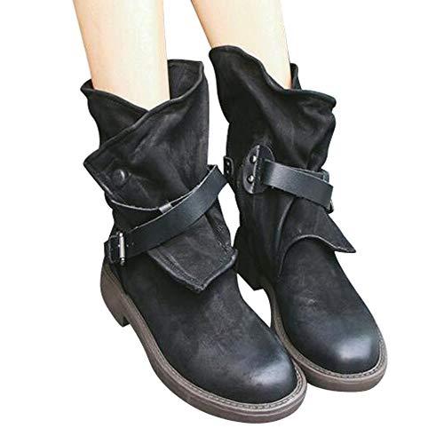 SUNNSEAN Damenstiefel Stiefeletten Damen Medium Military Boots Frauen Schnalle Kunstleder Patchwork Schuhe Casual Boots Mode Wildlederstiefel
