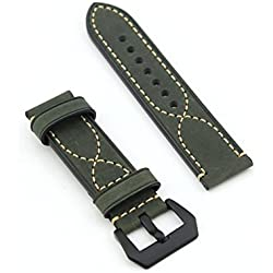 "Owfeel(TM) Delicate ""S"" Stitching Dark-green Leather Replacement Watch Band Strap Belt"
