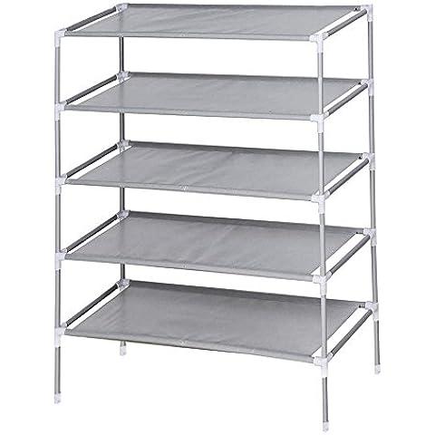 5Tier zapatero organizador de almacenamiento de soporte de pie ajustable montar estante entrada forma dormitorio para 15Par de zapatos gris 59x 28x 90cm