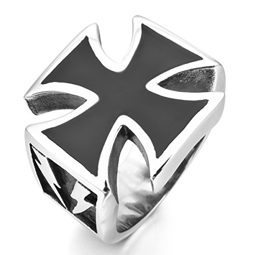 MunkiMix Acero Inoxidable Esmalte Enamel Anillo Ring Plata Negro Cruza