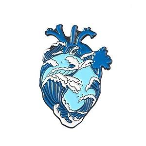 Bongles Organ Herz Emaille Pin Herz Brave Broschen-Beutel-Kleidung-Revers-Abzeichen Medical Schmuck Geschenk
