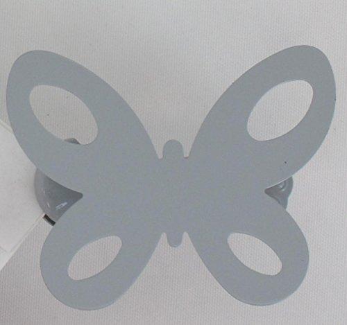 Pinces à voilages et rideaux métal, Embrasse aimantée, Embrasse métal souple, modèle et coloris au choix (Petites pinces Papillon (x2) Gris pour voilages et rideaux 3001093)