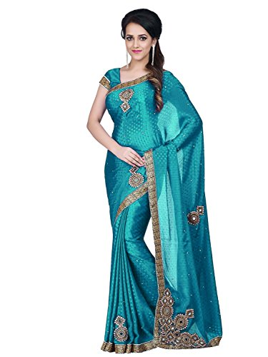 SareeShop Women's Clothing Turquois Kanjivaram Jacquard Silk Saree Latest Party Wear Design...