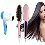 WIDEWINGS Fast Electric Hair Straightener Comb Brush LCD Screen Display with Temperature Control with Hair Dryer (Multicolor - As per Availability)