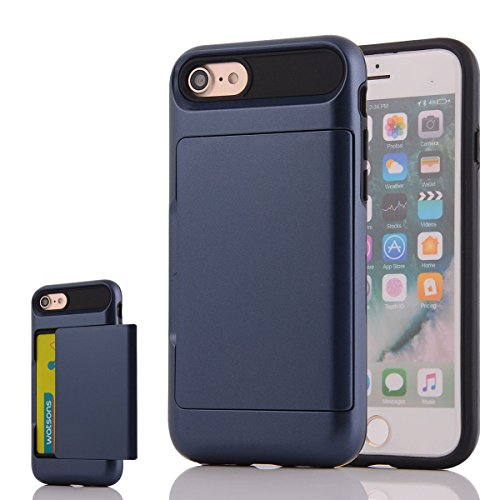 """HYAIT® For IPHONE 7 4.7"""" Case[Credit Card Slots][Shockproof] Dual Layer Hybrid Armor Rugged Plastic Hard Shell Flexible TPU Bumper Protective Cover-BHE07 BHE01"""