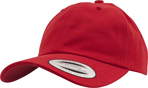 Flexfit Yupoong Low Profile Cotton Twill Unisex Dad Hat Cap für Damen und Herren, 6 Panel Baseball Cap Unstructured mit Messingverschluss, Red, One Size
