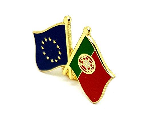 Europäische Union EU @ @ Freundschaft Flagge Pin Badge | und hochwertige schengener Länder Flagge Dual Duo gekreuzt gemischte Doppel Nationalflaggen Metall Emaille kombiniert Revers Brosche Neuheit zum Sammeln Geschenk Schmuck für Kleidung Shirt Jacken Mäntel Krawatte Hüte Kappen Taschen Rucksäcke Portugal (Portugal Mantel)