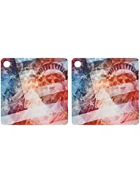 3dRose Patriotic Lady Liberty Digital Collage Features The Statue Of Liberty And American Flag - Key Chains, 2.25...