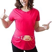 Camisetas Elegantes Moda Mujer Lactancia Tops Verano Cartoon Patrón Estampadas Plisado Cuello Redondo Basic Manga Corta