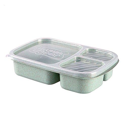 Lunch Box Weizenstroh Mikrowelle Geschirr Bento Box Qualität Gesundheit Natürliche 3 Grid Studenten Tragbare Lebensmittel Aufbewahrungsbox Lunchbox Green