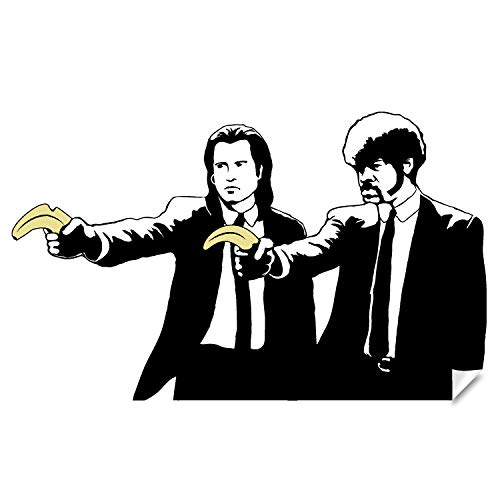 Banksy Pulp Fiction Sticker - Wall Art Vinyl Movie Jackson Pop Decal - Tarantino Ficiton Funny Retro Die Cut Cool Samuel Fan Stick Graffiti