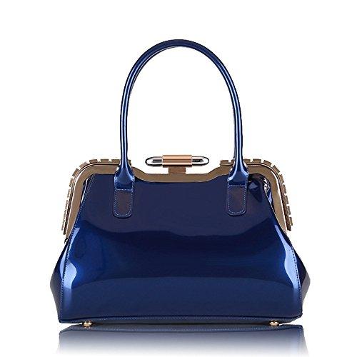 MIMI KING Lackleder Schulter Tote Bags Für Frauen Abend Metall Lock Mode Handtaschen In 4 Farben,Blue (Benutzerdefinierte Bag Tote)