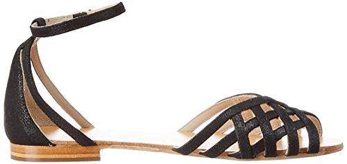 Petite Mendigote Nu-Pieds Chicorée Foil, Sandales Bout Ouvert Femme Noir (Black)