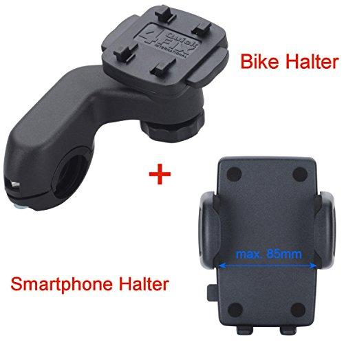 """KRS - HF4+HHG - Bike Mount 4QF Fahrradhalterung 4QuickFix Maxi Smart Gripper\"""" Handy Halter f Geräte mit einer Breite von 58 bis 85 mm (87mm)"""