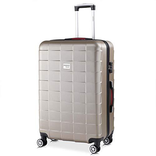Monzana Hartschale Trolley Koffer | Größe XL | TSA Schloss | Zwillingsrollen | Champagner | Reisekoffer Rollkoffer