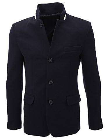 FLATSEVEN Mens Standing Collar 4 Buttoned Premium Blazer Jacket (BJ107)