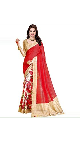 Vipul Women's Branded Red & White Casual Wear Half And Half Printed Georgette Saree (Best Gift For Mummy Mom Wife Girl Friend, Exclusive Offers and Sale Discount)  available at amazon for Rs.247
