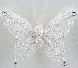 Club Green Organza Schmetterling mit Clip, Weiß, 80mm, 12Stück