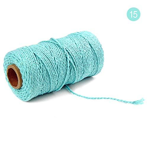 2mm 100 m lang / 100 Yard Reine Baumwolle verdreht Schnur Seil Handwerk Makramee Artisan String Natur Baumwollseil Baumwollkordel Rolle (O)