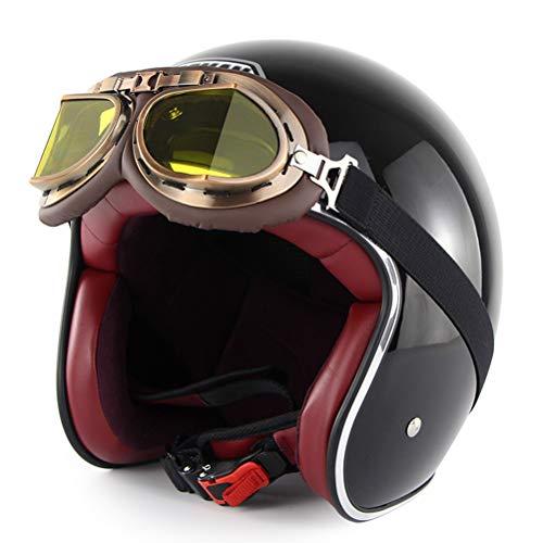 169 Brillen (HD-Dreamer MotorradHelm Halbe Open Face Motorrad Helm, Retro Roller Erwachsene DOT Helm mit Brillen, Scooter Sturzhelm Für Damen Herren,ShinningBlack,M)