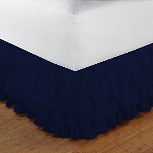 500TC 100% cotone egiziano, finitura elegante 1PCS multi Ruffle Bedskirt Solid (Drop length: 35,6 cm), Cotone, Sage Solid, Euro_Super_King_Extra_Long Navy Blue Solid