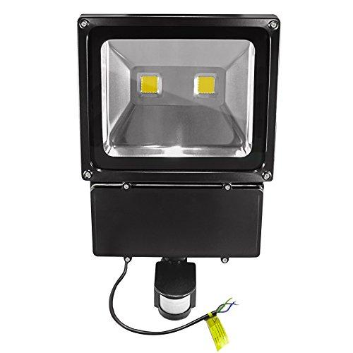 COB LED Außenfluter mit 180° Bewegungsmelder - IP65 - 100 Watt 3.000 Kelvin (Warmweiss) 9000 Lumen