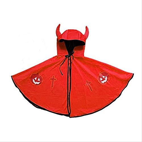 Magier Männlich Kostüm - KOWSXFTGB Halloween Kinder Umhang Männlich Und Weiblich Horn Teufel Umhang Umhang Mantel Deckmantel Show Kostüm 45X73Cm D