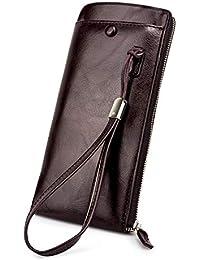 54e38f2fb84f BAGZY Pelle Lungo Uomo Portafoglio Borsa Viaggio Portafoglio della carta di  credito protettore Pochette Portamonete Titolare Regalo…