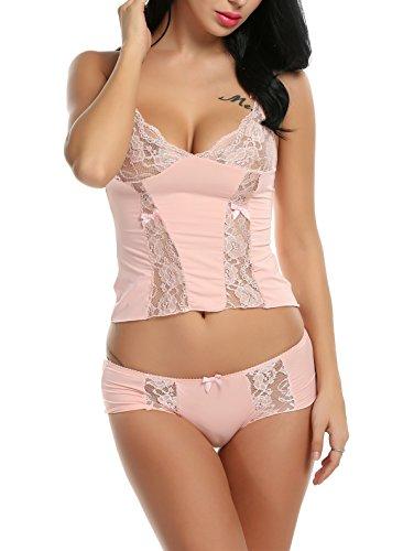 Avidlove Sexy Dessous Set Damen Lingerie Reizwäsche Negligee Unterwäsche Babydoll Bustier BH Nachthemd Pink XL