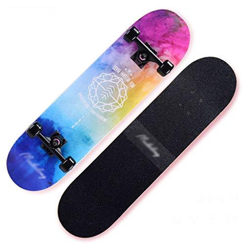 MLMHLMR Roller Maple Long Board Pinsel Street Dance Board Vier Räder Doppel Skateboard Skateboard Anfänger Teen Boy Girl Professionelles Skateboard Skateboard (Color : H)