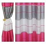 Halbtransparent Ösenvorhang Ösenschal Schal Dekoschal für Fenster Dekorative Gardine Farben Streifen 2er Set Vorhänge mit Ösen 145x245 cm AGV (V18)