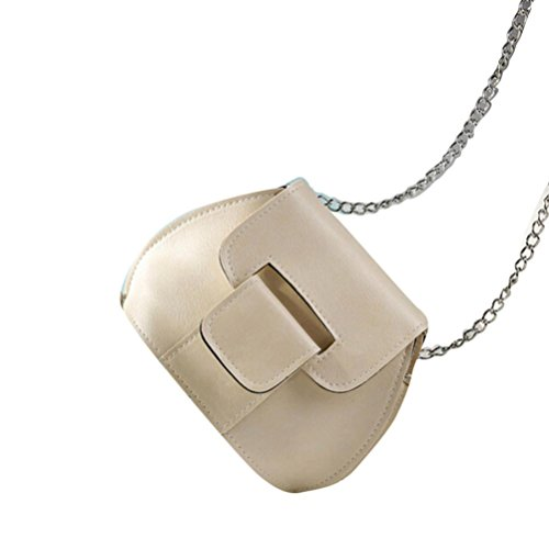 Saingace Art- und Weisefrauen-lederner Kettenhandtaschen-Kreuz-Körper-einzelne Schulter-Telefon-Münzen-Beutel Handtaschen Schultertasche Beige