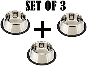 Pets Empire Small Dog's and Cat's Steel Feeding Bowl, 200ml - Set Of 3