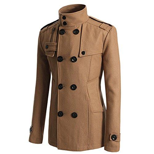 Zrong Herren Herbst Lang Winter mantel Trenchcoat Winterjacke College jacke Khaki